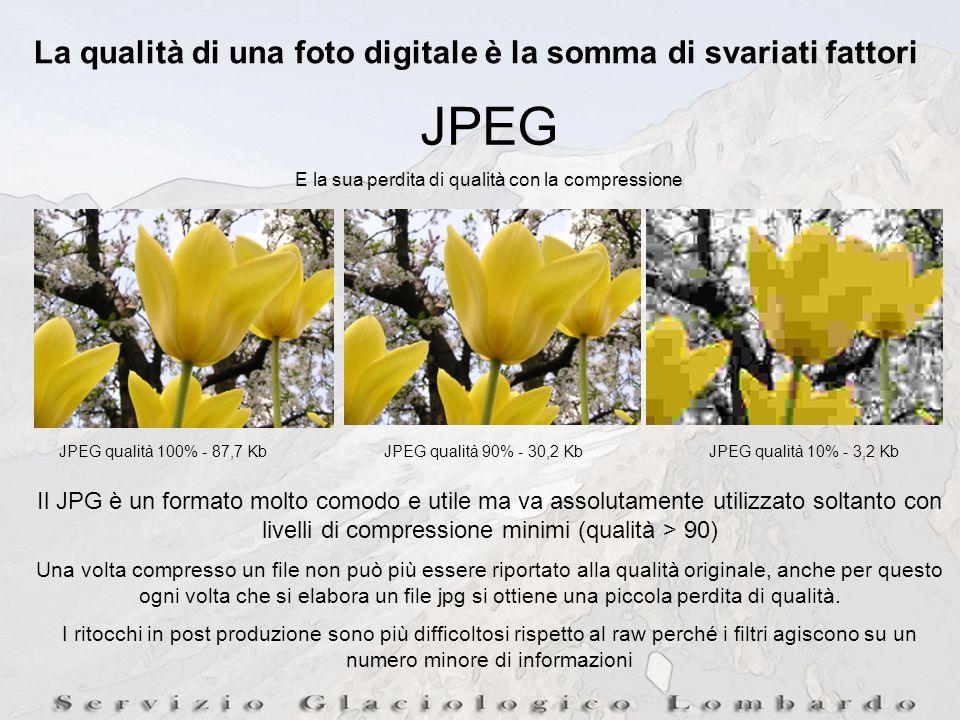 La qualità di una foto digitale è la somma di svariati fattori JPEG E la sua perdita di qualità con la compressione JPEG qualità 100% - 87,7 KbJPEG qualità 90% - 30,2 KbJPEG qualità 10% - 3,2 Kb Il JPG è un formato molto comodo e utile ma va assolutamente utilizzato soltanto con livelli di compressione minimi (qualità > 90) Una volta compresso un file non può più essere riportato alla qualità originale, anche per questo ogni volta che si elabora un file jpg si ottiene una piccola perdita di qualità.
