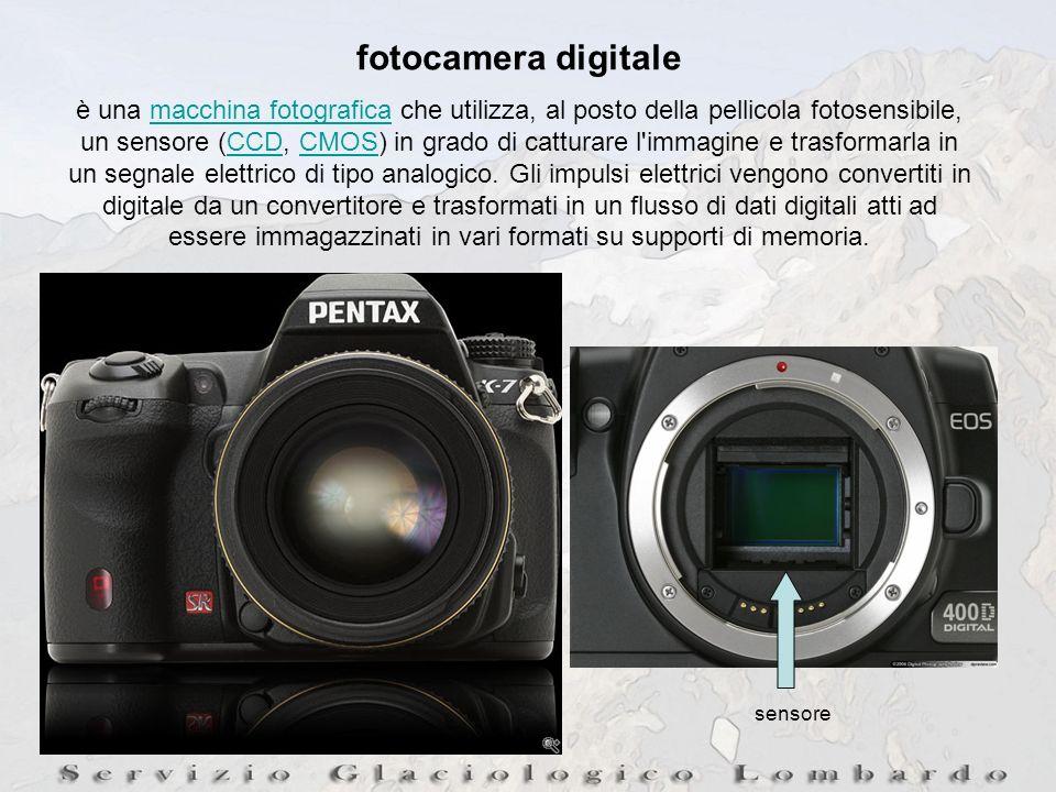 sensore fotocamera digitale è una macchina fotografica che utilizza, al posto della pellicola fotosensibile, un sensore (CCD, CMOS) in grado di catturare l immagine e trasformarla in un segnale elettrico di tipo analogico.
