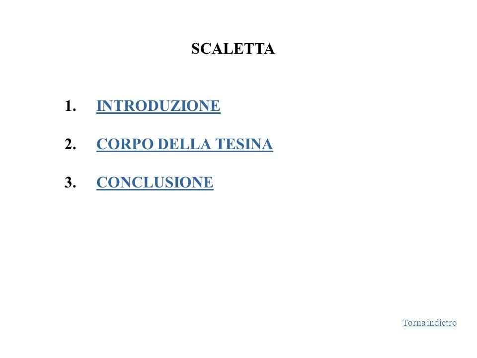 SCALETTA 1. INTRODUZIONEINTRODUZIONE 2. CORPO DELLA TESINACORPO DELLA TESINA 3. CONCLUSIONECONCLUSIONE Torna indietro