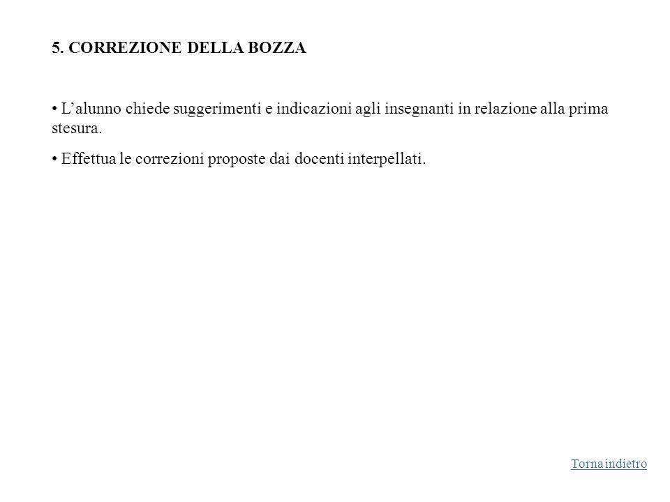 5. CORREZIONE DELLA BOZZA Lalunno chiede suggerimenti e indicazioni agli insegnanti in relazione alla prima stesura. Effettua le correzioni proposte d