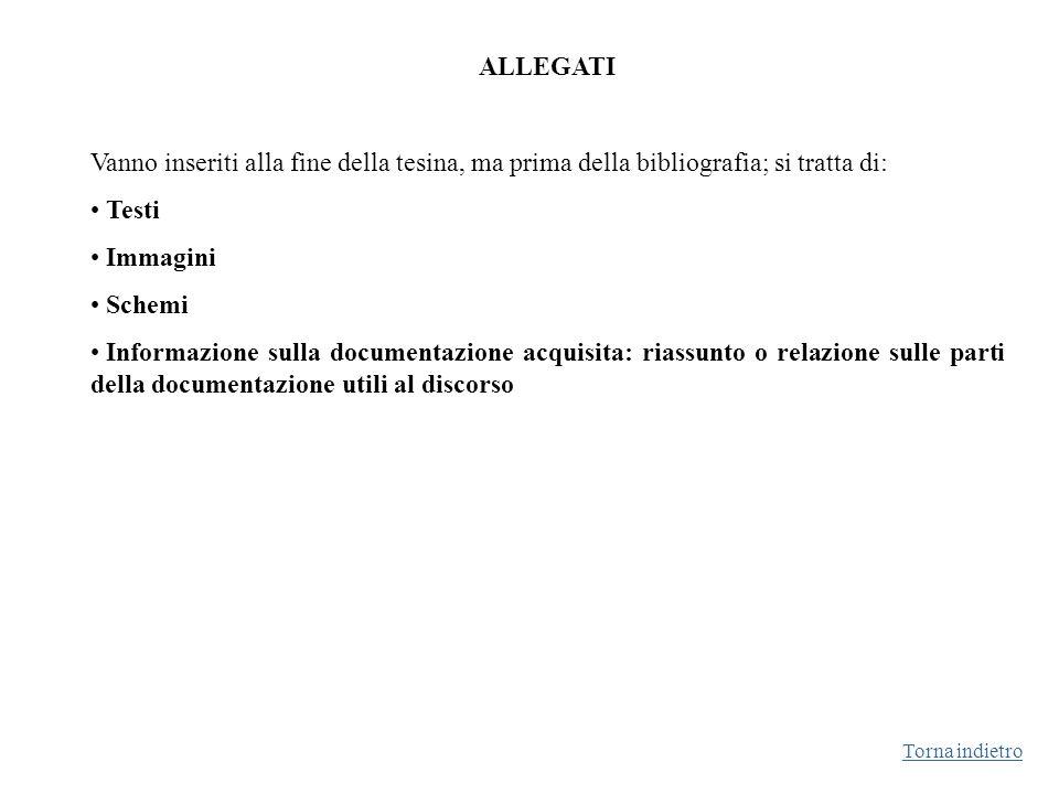 ALLEGATI Vanno inseriti alla fine della tesina, ma prima della bibliografia; si tratta di: Testi Immagini Schemi Informazione sulla documentazione acq