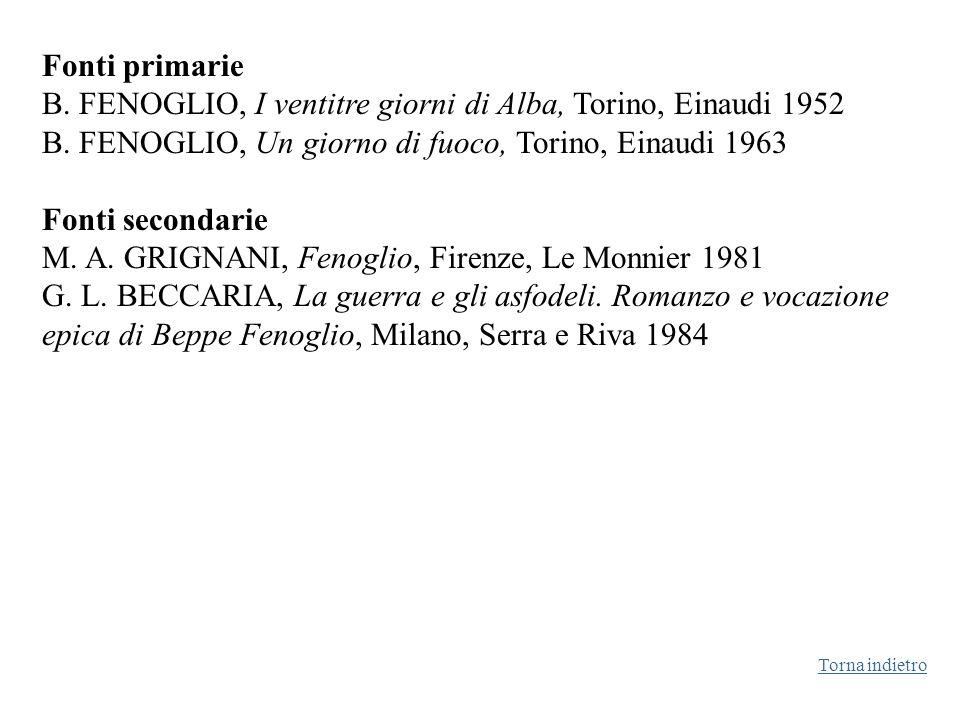 Fonti primarie B. FENOGLIO, I ventitre giorni di Alba, Torino, Einaudi 1952 B. FENOGLIO, Un giorno di fuoco, Torino, Einaudi 1963 Fonti secondarie M.