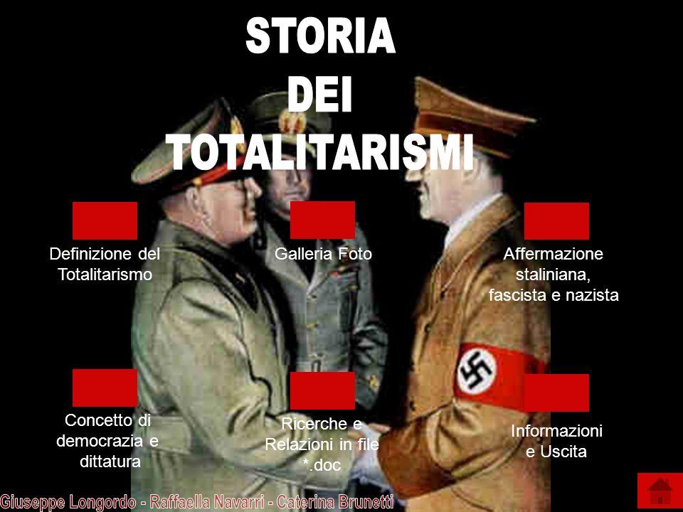 Galleria Foto Definizione del Totalitarismo Affermazione staliniana, fascista e nazista Concetto di democrazia e dittatura Informazioni e Uscita Ricer