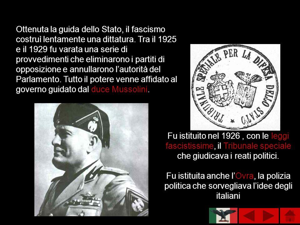 Ottenuta la guida dello Stato, il fascismo costruì lentamente una dittatura. Tra il 1925 e il 1929 fu varata una serie di provvedimenti che eliminaron