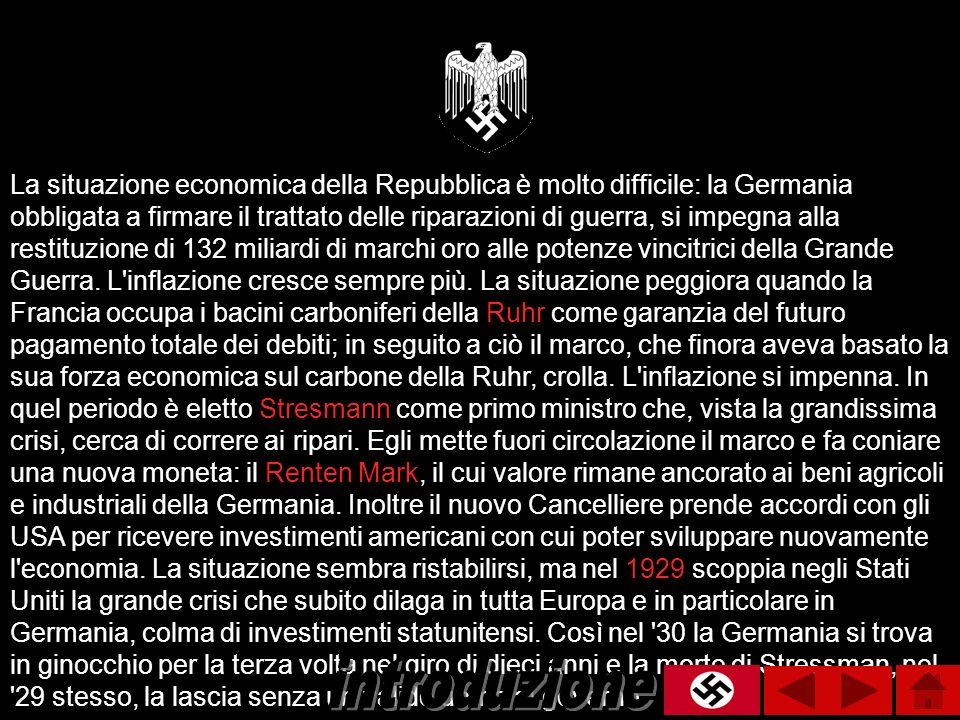 La situazione economica della Repubblica è molto difficile: la Germania obbligata a firmare il trattato delle riparazioni di guerra, si impegna alla r