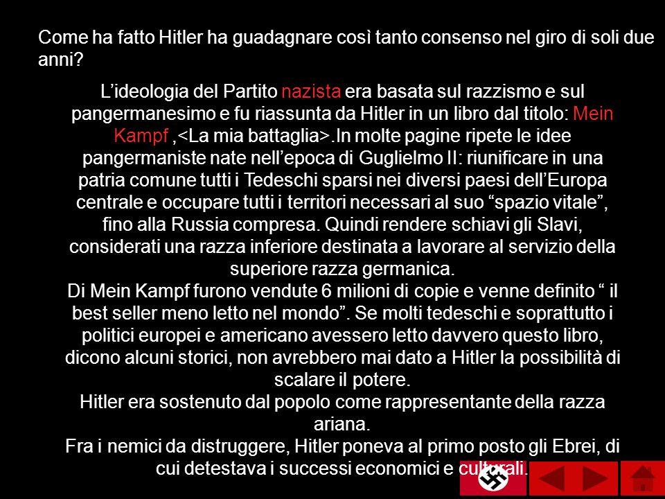 Lideologia del Partito nazista era basata sul razzismo e sul pangermanesimo e fu riassunta da Hitler in un libro dal titolo: Mein Kampf,.In molte pagi