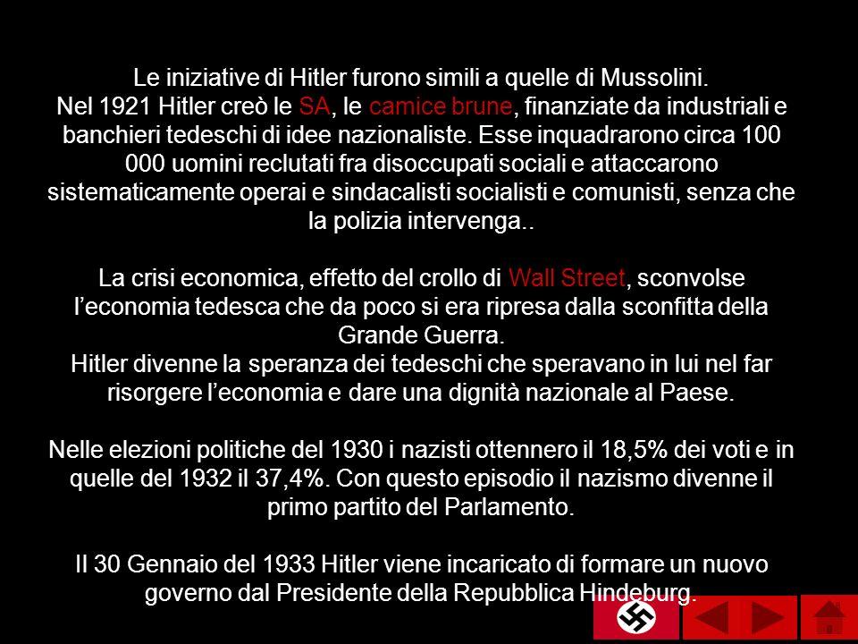 Le iniziative di Hitler furono simili a quelle di Mussolini. Nel 1921 Hitler creò le SA, le camice brune, finanziate da industriali e banchieri tedesc