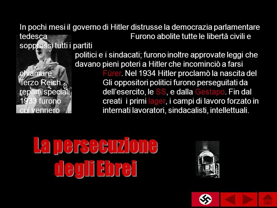 In pochi mesi il governo di Hitler distrusse la democrazia parlamentare tedesca Furono abolite tutte le libertà civili e soppressi tutti i partiti pol