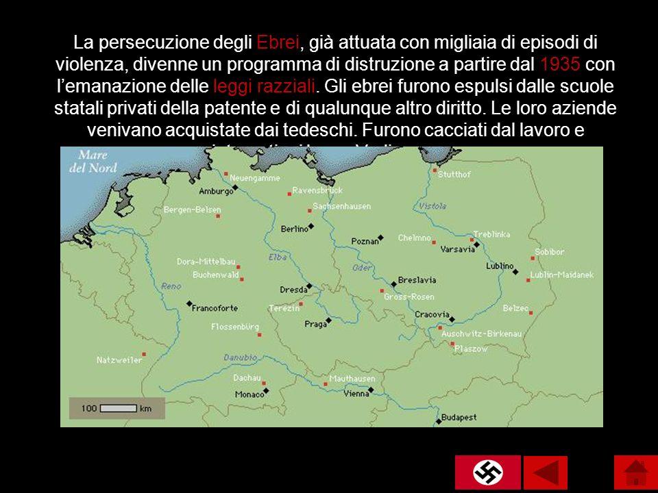 La persecuzione degli Ebrei, già attuata con migliaia di episodi di violenza, divenne un programma di distruzione a partire dal 1935 con lemanazione d