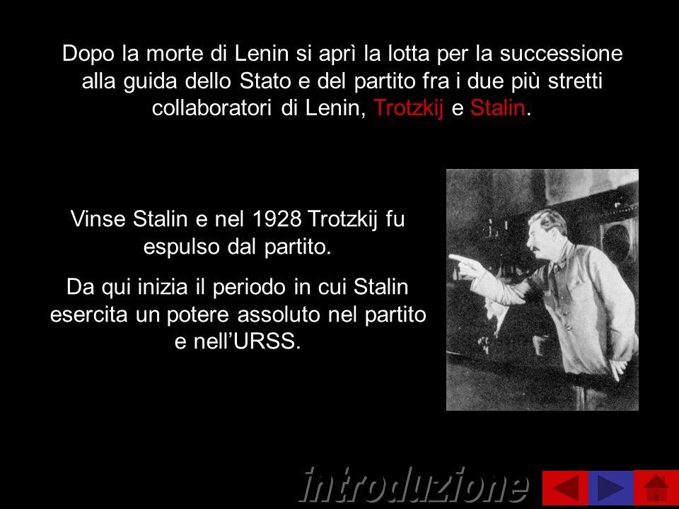 Dopo la morte di Lenin si aprì la lotta per la successione alla guida dello Stato e del partito fra i due più stretti collaboratori di Lenin, Trotzkij