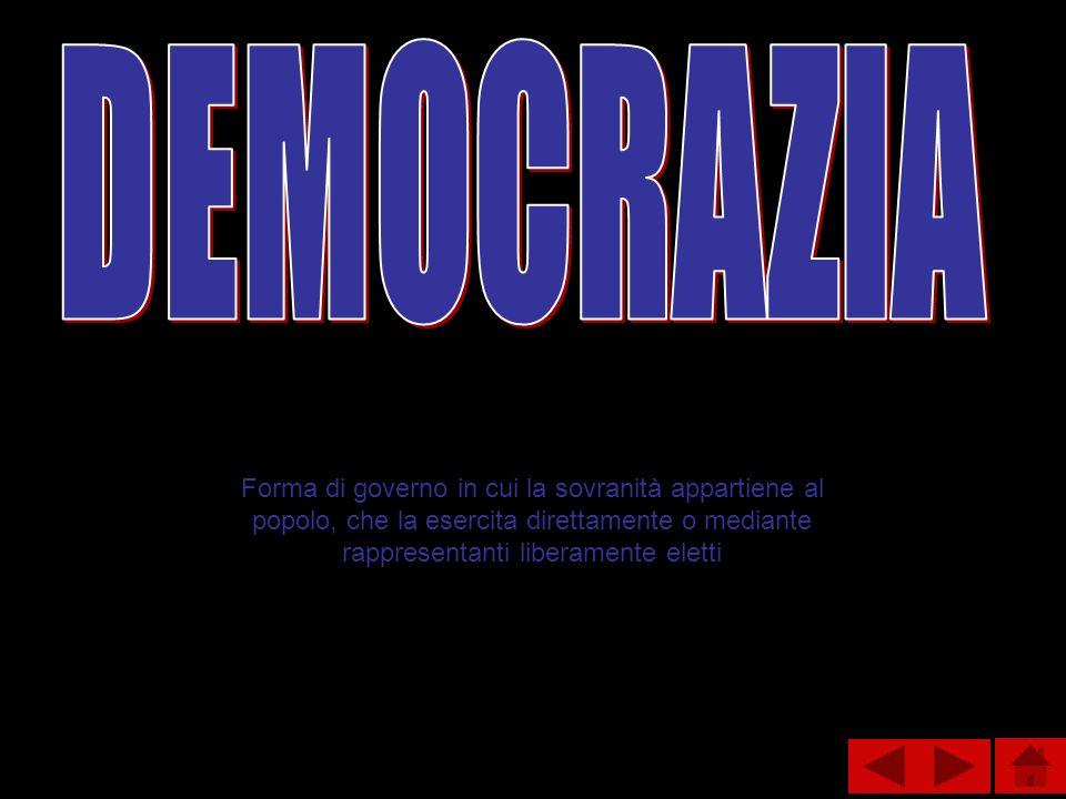 Forma di governo in cui la sovranità appartiene al popolo, che la esercita direttamente o mediante rappresentanti liberamente eletti