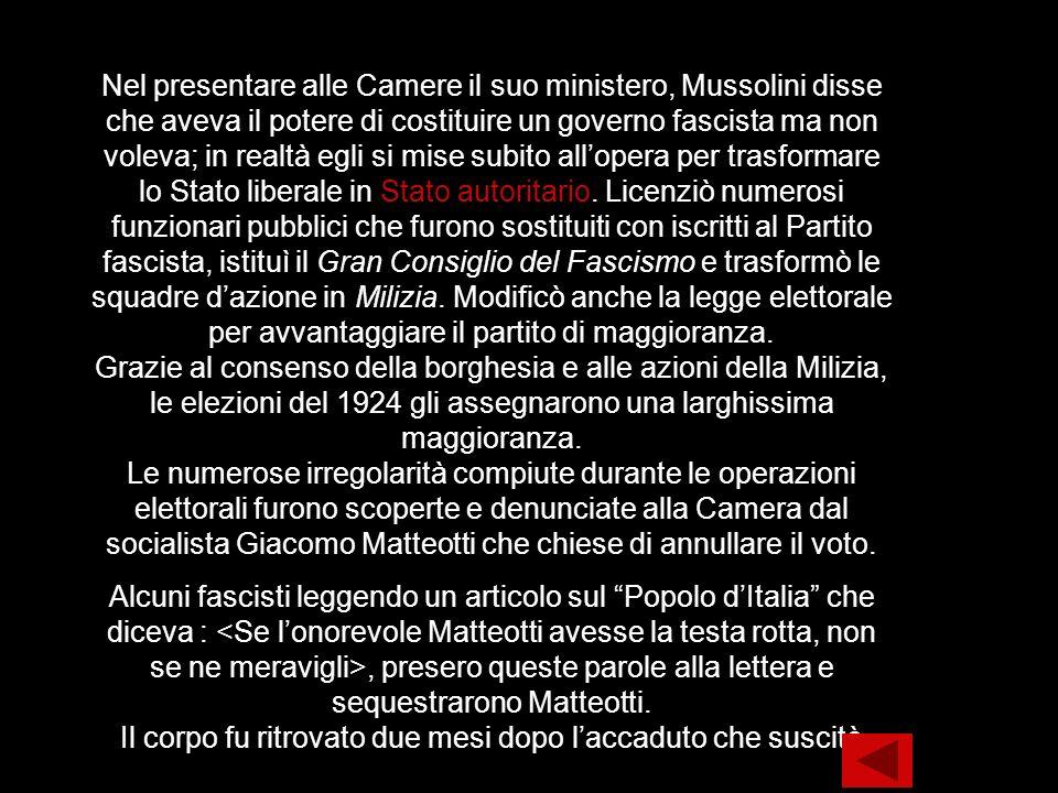 Nel presentare alle Camere il suo ministero, Mussolini disse che aveva il potere di costituire un governo fascista ma non voleva; in realtà egli si mi