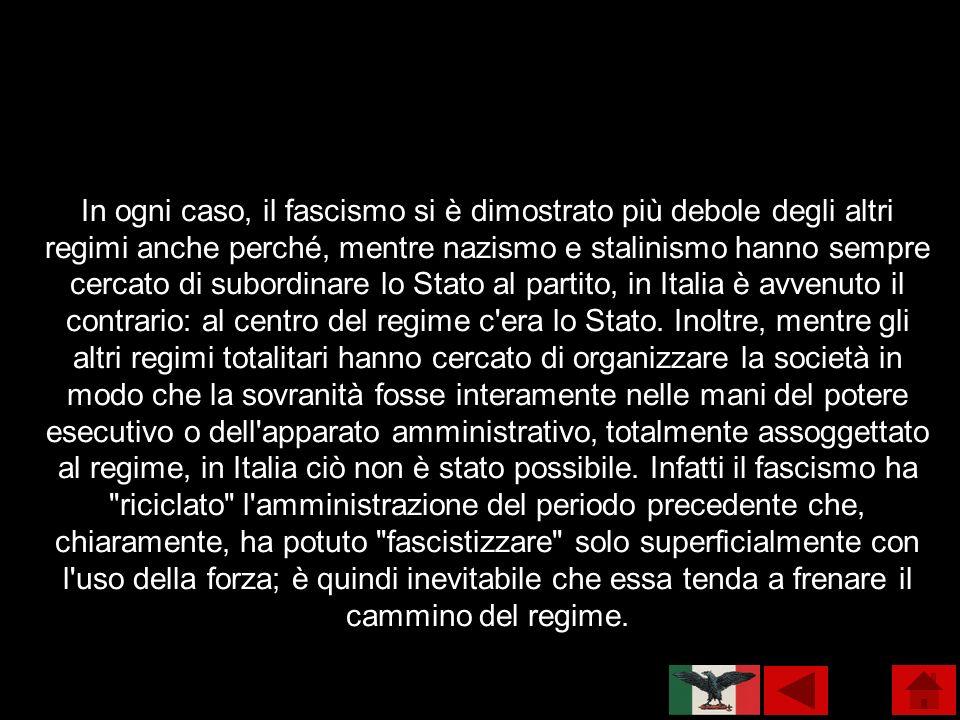In ogni caso, il fascismo si è dimostrato più debole degli altri regimi anche perché, mentre nazismo e stalinismo hanno sempre cercato di subordinare