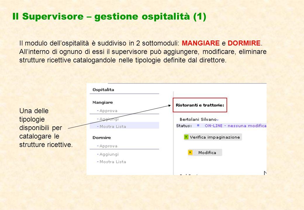 Il Supervisore – gestione ospitalità (1) Il modulo dellospitalità è suddiviso in 2 sottomoduli: MANGIARE e DORMIRE.