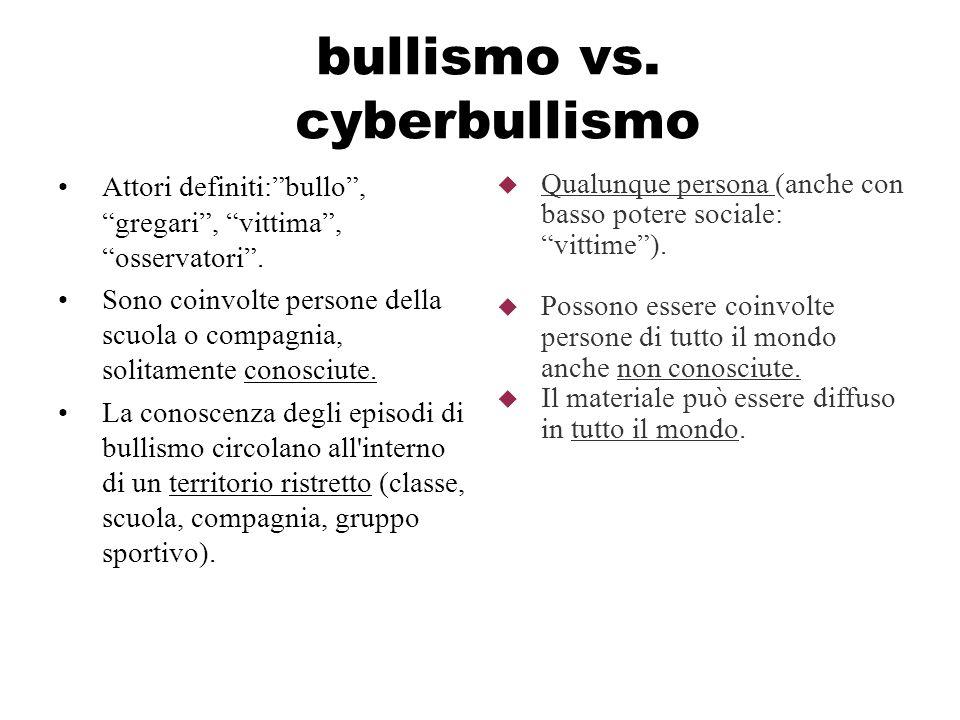 bullismo vs. cyberbullismo Attori definiti:bullo, gregari, vittima, osservatori. Sono coinvolte persone della scuola o compagnia, solitamente conosciu