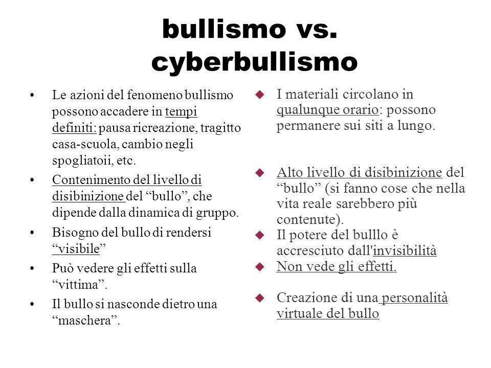 bullismo vs. cyberbullismo Le azioni del fenomeno bullismo possono accadere in tempi definiti: pausa ricreazione, tragitto casa-scuola, cambio negli s