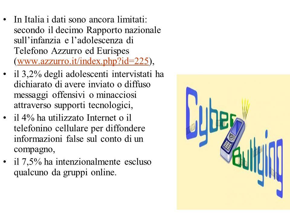 In Italia i dati sono ancora limitati: secondo il decimo Rapporto nazionale sullinfanzia e ladolescenza di Telefono Azzurro ed Eurispes (www.azzurro.i