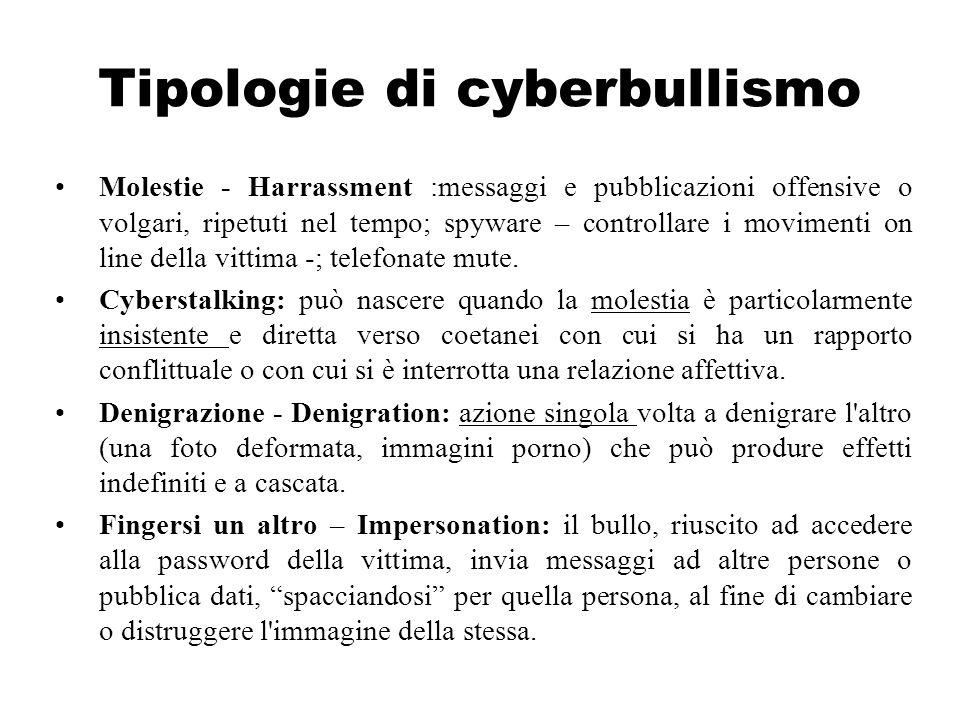 Tipologie di cyberbullismo Molestie - Harrassment :messaggi e pubblicazioni offensive o volgari, ripetuti nel tempo; spyware – controllare i movimenti