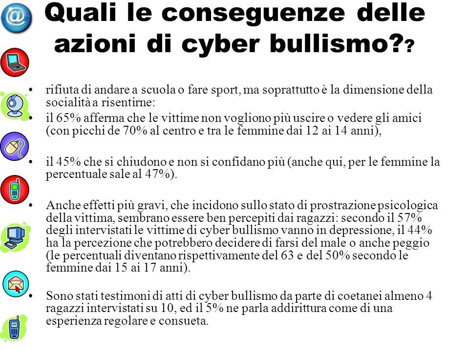 Quali le conseguenze delle azioni di cyber bullismo? ? rifiuta di andare a scuola o fare sport, ma soprattutto è la dimensione della socialità a risen