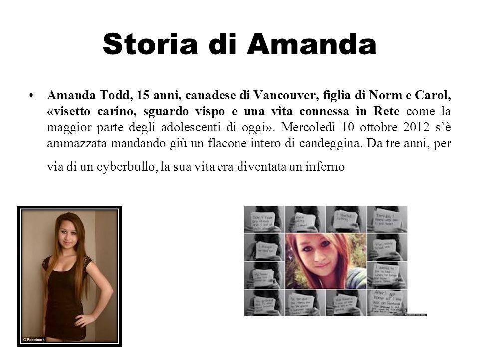 Storia di Amanda Amanda Todd, 15 anni, canadese di Vancouver, figlia di Norm e Carol, «visetto carino, sguardo vispo e una vita connessa in Rete come