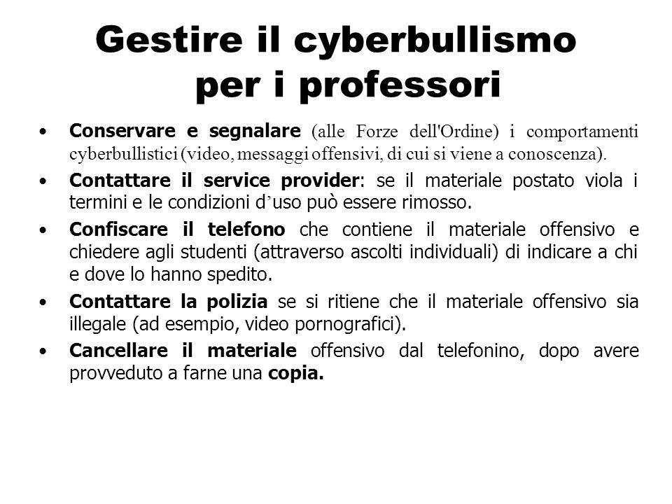 Gestire il cyberbullismo per i professori Conservare e segnalare (alle Forze dell'Ordine) i comportamenti cyberbullistici (video, messaggi offensivi,