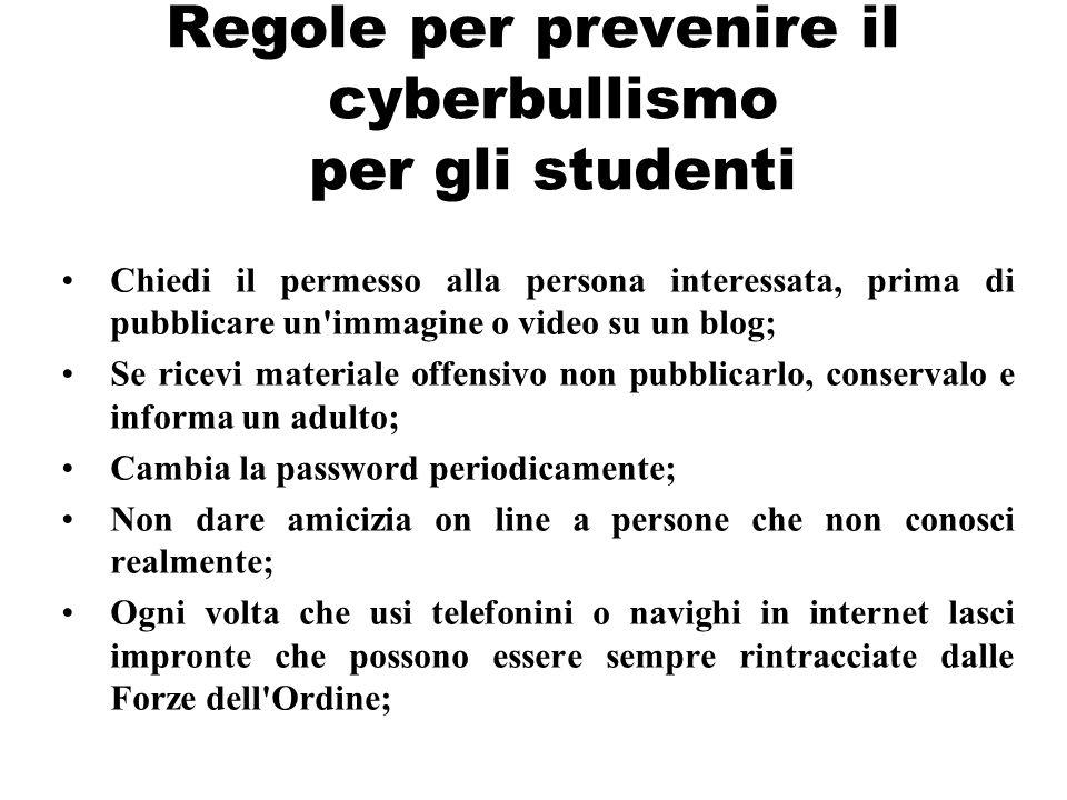 Regole per prevenire il cyberbullismo per gli studenti Chiedi il permesso alla persona interessata, prima di pubblicare un'immagine o video su un blog