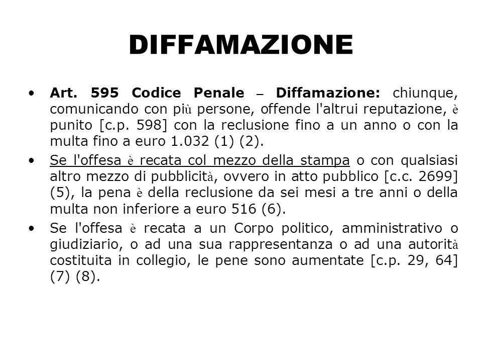 DIFFAMAZIONE Art. 595 Codice Penale – Diffamazione: chiunque, comunicando con pi ù persone, offende l'altrui reputazione, è punito [c.p. 598] con la r