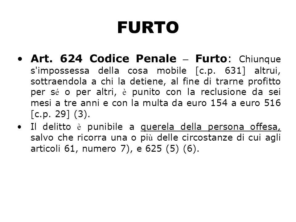 FURTO Art. 624 Codice Penale – Furto: Chiunque s'impossessa della cosa mobile [c.p. 631] altrui, sottraendola a chi la detiene, al fine di trarne prof