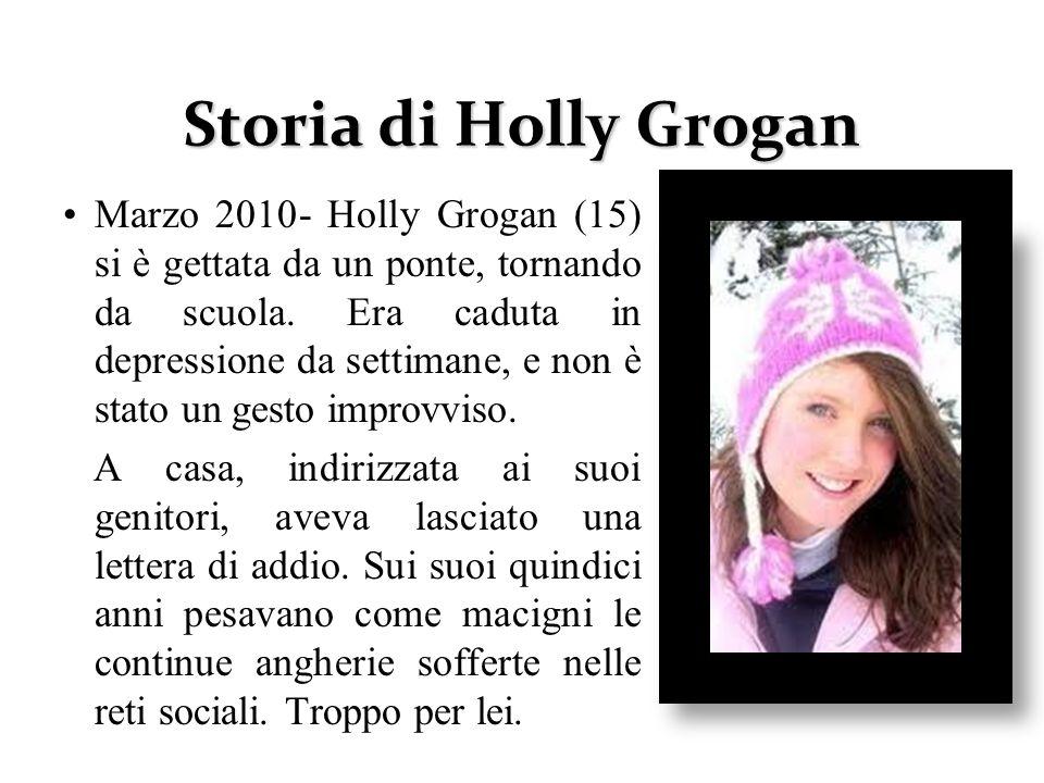 Storia di Holly Grogan Marzo 2010- Holly Grogan (15) si è gettata da un ponte, tornando da scuola. Era caduta in depressione da settimane, e non è sta