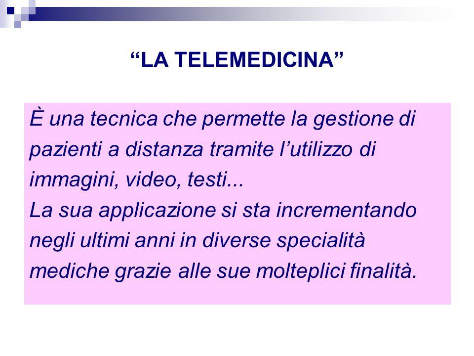 LA TELEMEDICINA È una tecnica che permette la gestione di pazienti a distanza tramite lutilizzo di immagini, video, testi... La sua applicazione si st