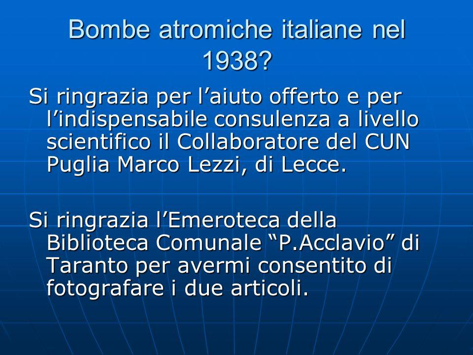 Bombe atromiche italiane nel 1938.