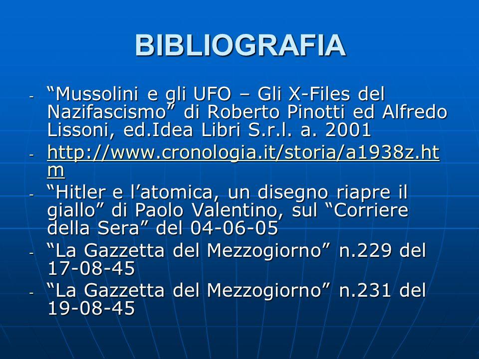 BIBLIOGRAFIA - Mussolini e gli UFO – Gli X-Files del Nazifascismo di Roberto Pinotti ed Alfredo Lissoni, ed.Idea Libri S.r.l.