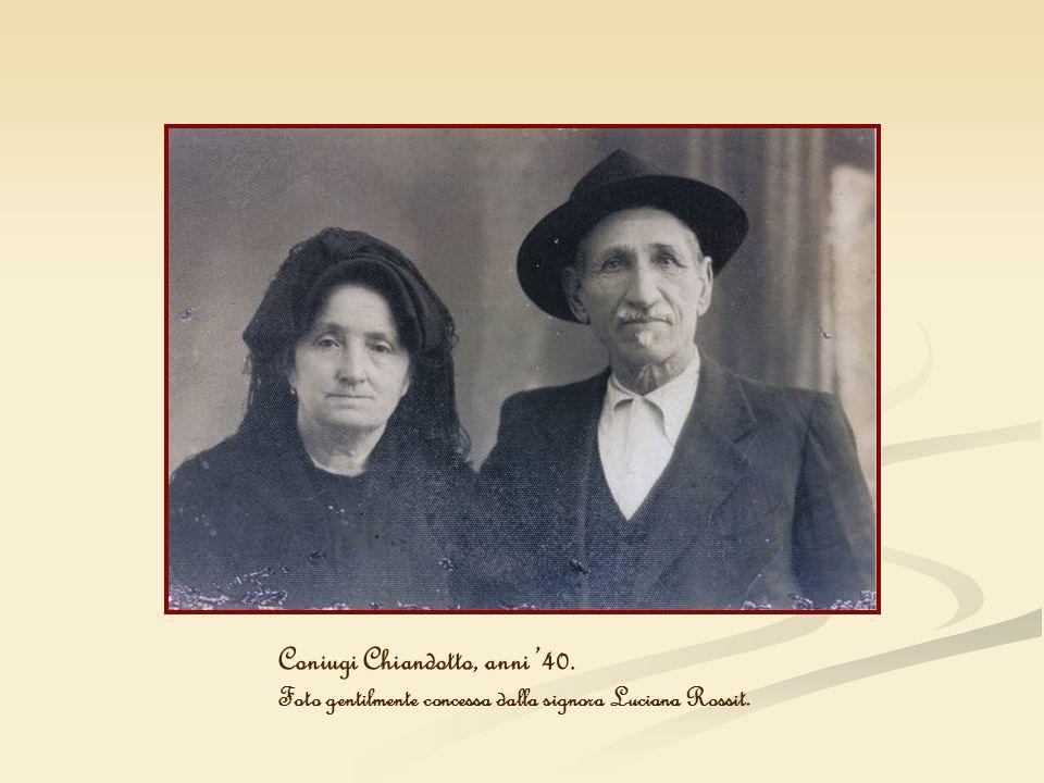 Coniugi Chiandotto, anni 40. Foto gentilmente concessa dalla signora Luciana Rossit.