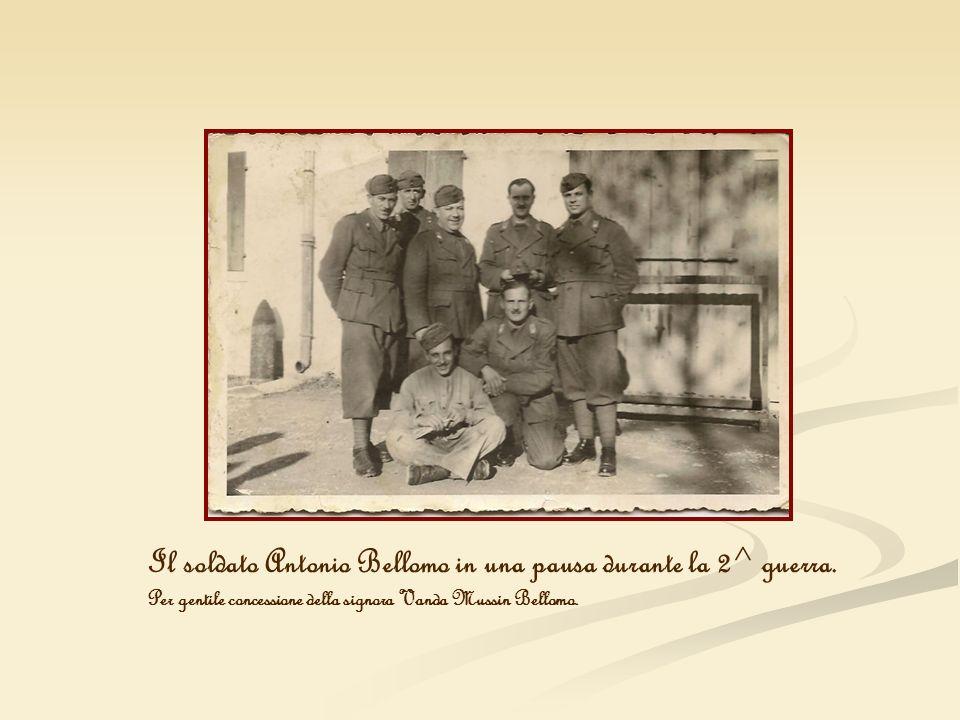 Il soldato Antonio Bellomo in una pausa durante la 2^ guerra. Per gentile concessione della signora Vanda Mussin Bellomo.