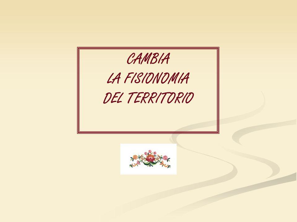 CAMBIA LA FISIONOMIA DEL TERRITORIO