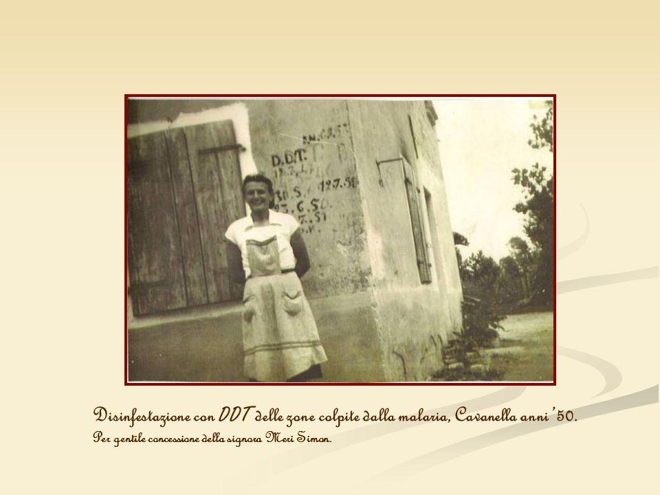 Disinfestazione con DDT delle zone colpite dalla malaria, Cavanella anni 50. Per gentile concessione della signora Meri Simon.
