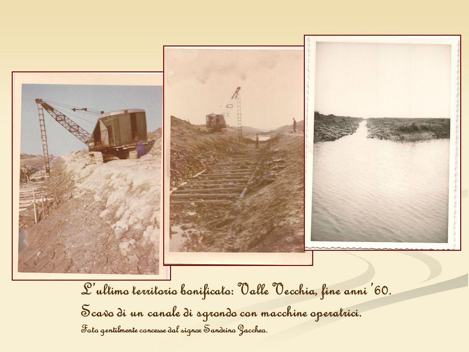 Lultimo territorio bonificato: Valle Vecchia, fine anni 60. Scavo di un canale di sgrondo con macchine operatrici. Foto gentilmente concesse dal signo