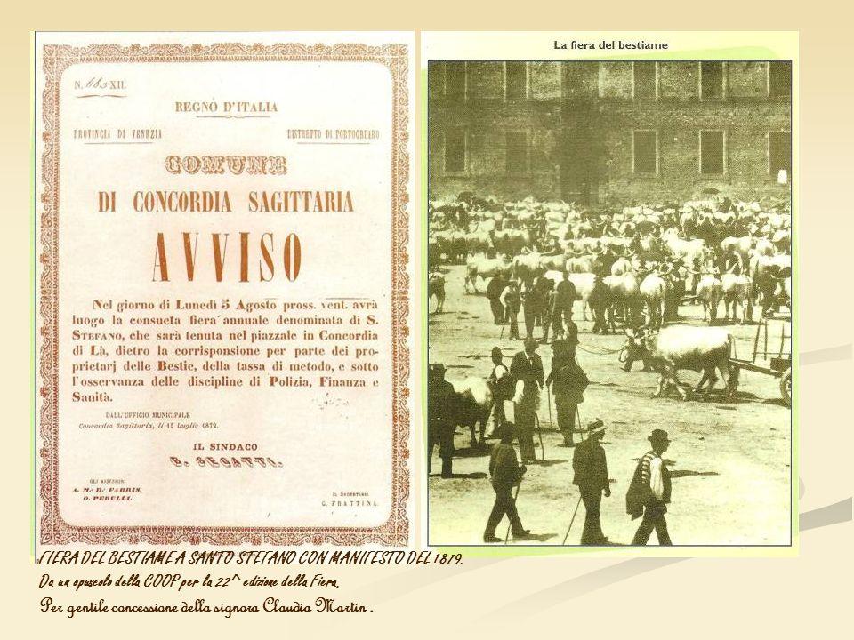 FIERA DEL BESTIAME A SANTO STEFANO CON MANIFESTO DEL 1879. Da un opuscolo della COOP per la 22^ edizione della Fiera. Per gentile concessione della si