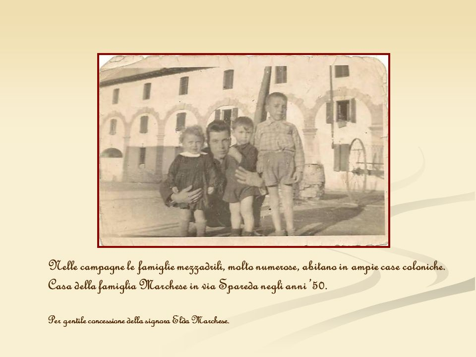 Nelle campagne le famiglie mezzadrili, molto numerose, abitano in ampie case coloniche. Casa della famiglia Marchese in via Spareda negli anni 50. Per