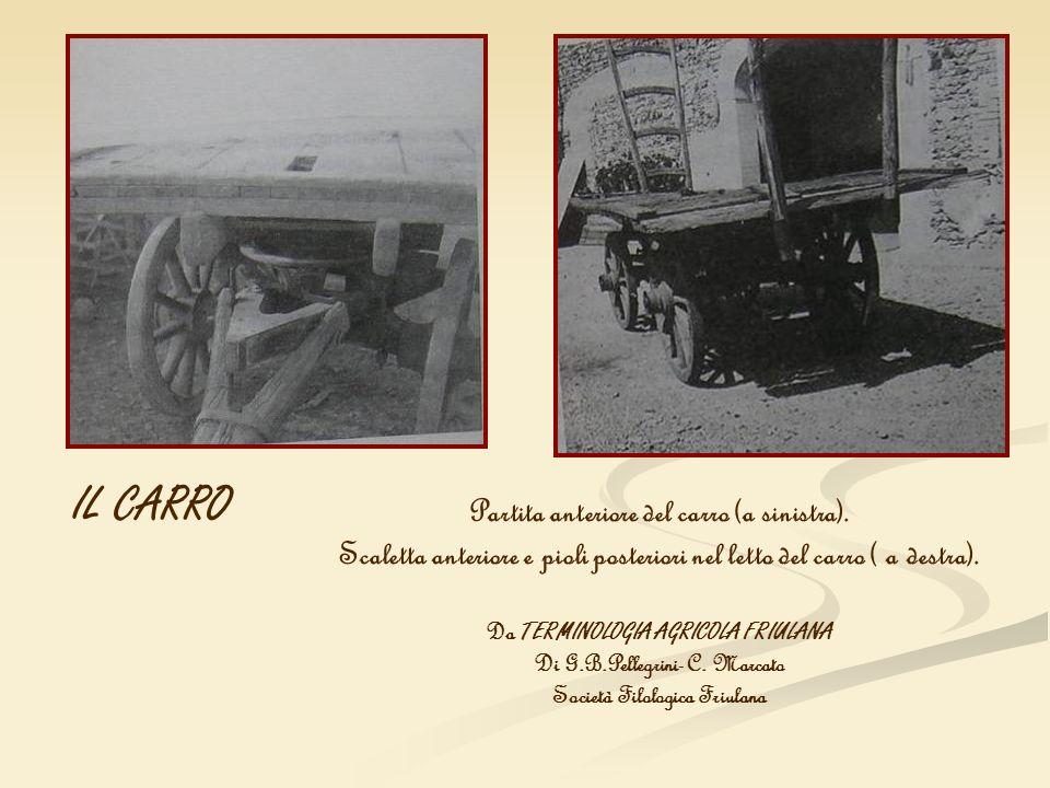Partita anteriore del carro (a sinistra). Scaletta anteriore e pioli posteriori nel letto del carro ( a destra). Da TERMINOLOGIA AGRICOLA FRIULANA Di