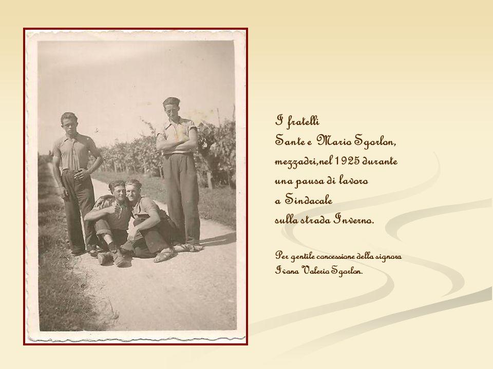 I fratelli Sante e Mario Sgorlon, mezzadri,nel 1925 durante una pausa di lavoro a Sindacale sulla strada Inverno. Per gentile concessione della signor
