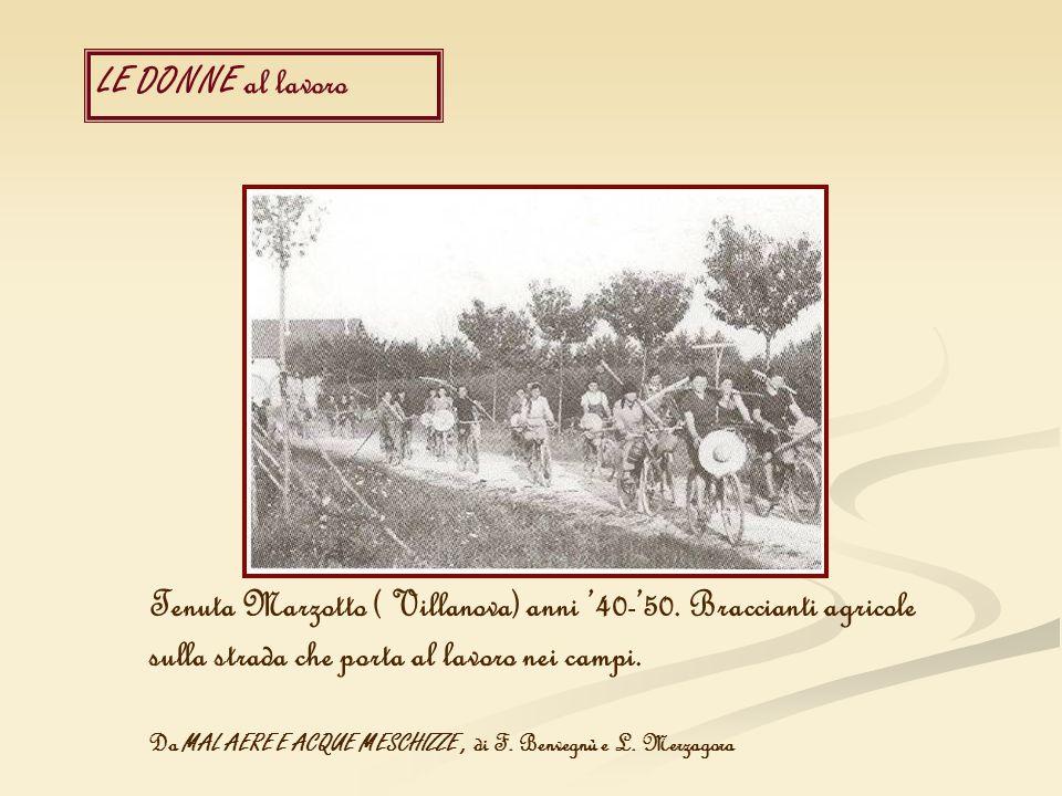 LE DONNE al lavoro Tenuta Marzotto ( Villanova) anni 40-50. Braccianti agricole sulla strada che porta al lavoro nei campi. Da MAL AERE E ACQUE MESCHI