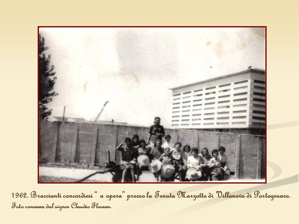 1962. Braccianti concordiesi a opera presso la Tenuta Marzotto di Villanova di Portogruaro. Foto concessa dal signor Claudio Florean.