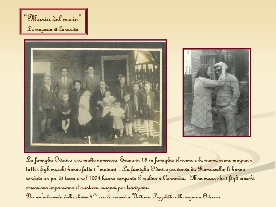Maria del muin La mugnaia di Concordia La famiglia Odorico era molto numerosa. Erano in 15 in famiglia: il nonno e la nonna erano mugnai e tutti i fig