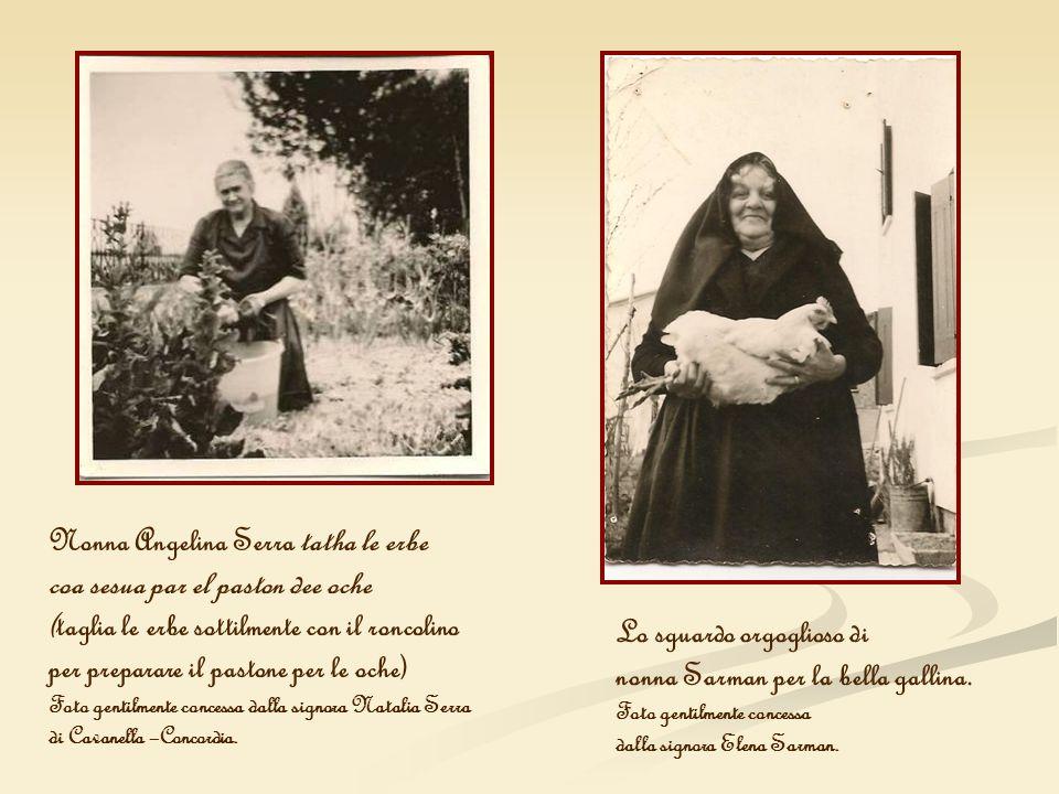Nonna Angelina Serra tatha le erbe coa sesua par el paston dee oche (taglia le erbe sottilmente con il roncolino per preparare il pastone per le oche)