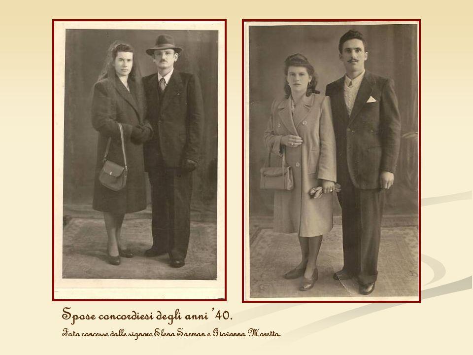 Spose concordiesi degli anni 40. Foto concesse dalle signore Elena Sarman e Giovanna Moretto.