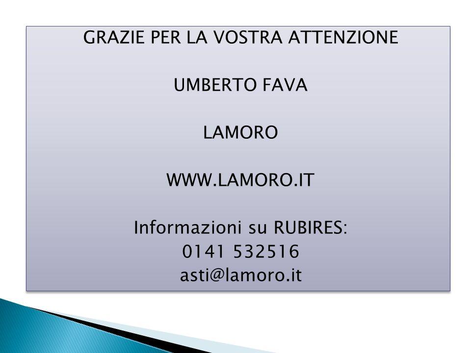 GRAZIE PER LA VOSTRA ATTENZIONE UMBERTO FAVA LAMORO WWW.LAMORO.IT Informazioni su RUBIRES: 0141 532516 asti@lamoro.it GRAZIE PER LA VOSTRA ATTENZIONE UMBERTO FAVA LAMORO WWW.LAMORO.IT Informazioni su RUBIRES: 0141 532516 asti@lamoro.it