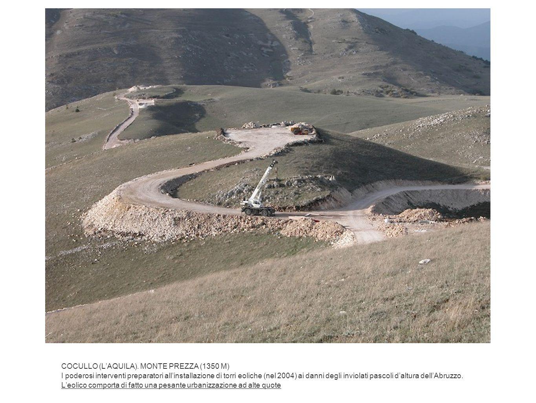 COCULLO (LAQUILA). MONTE PREZZA (1350 M) I poderosi interventi preparatori allinstallazione di torri eoliche (nel 2004) ai danni degli inviolati pasco