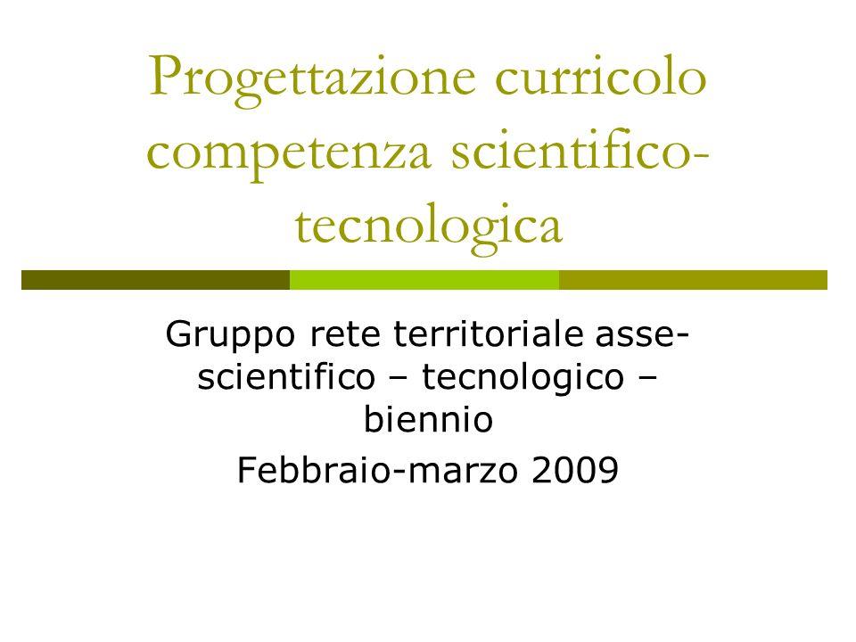 Progettazione curricolo competenza scientifico- tecnologica Gruppo rete territoriale asse- scientifico – tecnologico – biennio Febbraio-marzo 2009