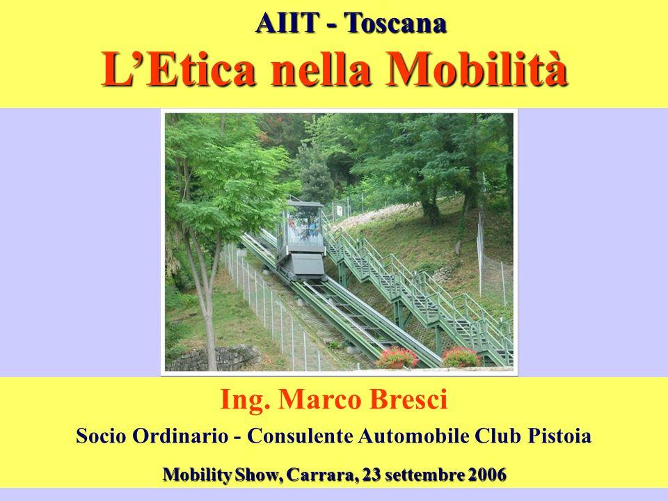 LEtica nella Mobilità Ing. Marco Bresci Socio Ordinario - Consulente Automobile Club Pistoia AIIT - Toscana Mobility Show, Carrara, 23 settembre 2006